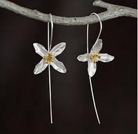 """Красивые серебренные серьги """"Цветок Иксора"""" 925, фото 1"""
