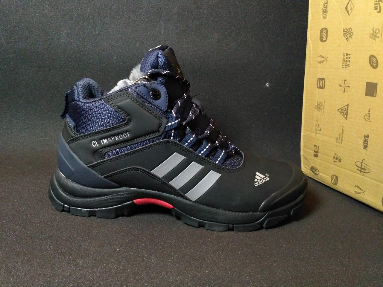 Ботинки Adidas мужские на меху (черные), ТОП-реплика