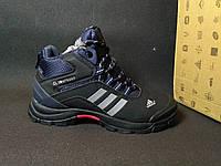 Ботинки Adidas мужские на меху (черные), ТОП-реплика, фото 1