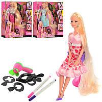 Кукла 68029 29 см, длинные волосы, зеркало, стул, фен, аксессуарыдля волос