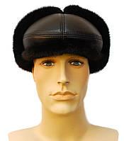 Мужская меховая кепка норковая (черная)