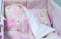 """Комплект детского постельного белья 120х60 см  """"Пэчворк"""" розовый, фото 1"""