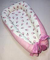 """Гнездышко кокон babynest позиционер для новорожденного""""Сатин Премиум Мороженое розовое """""""