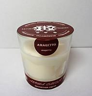 ароматная свеча в стеклянном стакане ЭКО с ароматом Амаретто 170гр Д=7,5см Н=8,3см