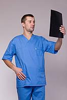Батистовый медицинский костюм врача в синем цвете