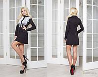 Трикотажное черное платье с шифоновой манишкой 83515