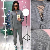 Костюм модный женский свитер со шнуровкой и брюки вязка разные цвета 6Db730
