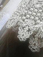 Тюль вышивка на микросетке шоколад с античным рисунком