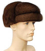 Мужская шапка норковая на основе (орех)