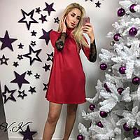 Трикотажное свободное платье - трапеция с кружевом на рукавах 83546