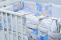 """Комплект детского постельного белья 120х60 см  """"Пэчворк"""" голубой, фото 1"""