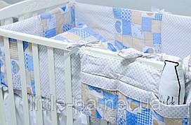 """Комплект детского постельного белья 120х60 см  """"Пэчворк"""" голубой"""