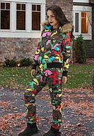 Женский яркий зимний костюм хаки с мехом на капюшоне tez610814