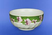 Салатник белый сиреневые орхидеи