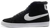 Зимние женские высокие кроссовки Nike Blazer High Fur Найк с мехом черные