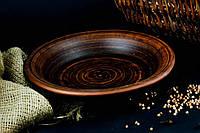 Тарелка из красной глины полупорционная гладкая 11111