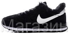 Зимние женские кроссовки Nike Internationalist Black Найк с мехом черные