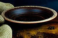 Тарелка из красной глины полупорционная ангоб