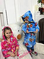 Замечательные детские халаты (велсофт, капюшон, на поясе, красивый принт) РАЗНЫЕ ЦВЕТА!