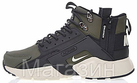 Мужские зимние кроссовки Nike Huarache Acronym Concept высокие Найк Аир Хуарачи Акроним хаки, фото 2