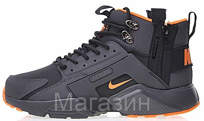 Мужские кроссовки ACRONYM x Nike Air Huarache CITY MID LEA Найк Аир Хуарачи Акроним черные