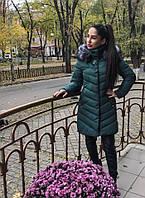 Модная, женская, стеганая куртка с высоким воротником, декорирована брошью и съемным мехом. РАЗНЫЕ ЦВЕТА