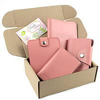 Подарочный набор №7: обложка на паспорт, права + картхолдер + портмоне П1 (нежно-розовый)