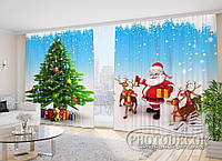 """Новогодние Фото Шторы в зал """"Дед Мороз с оленями"""" 2,7м*2,9м (2 полотна по 1,45м), тесьма, фото 1"""