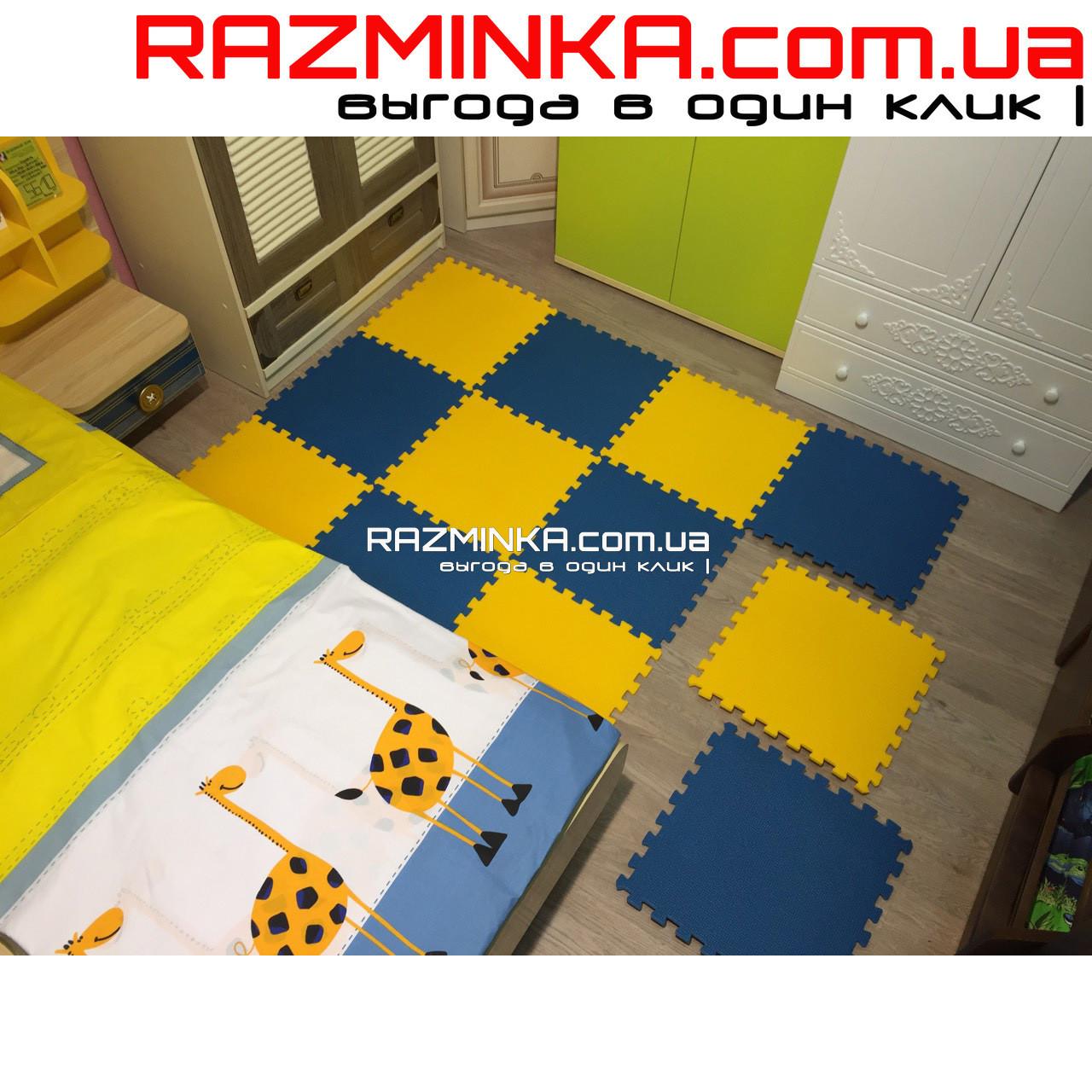 Детский коврик пазл 48х48х1см (сине-желтый)