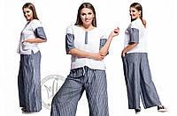 Костюм 48+ футболка + брюки из льна-джинс свободного кроя. На спинке кокетливый треугольный вырез  арт 2860-48