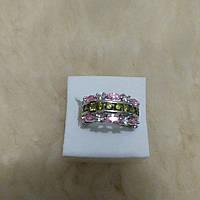 Серебряное кольцо с цитрином и перидотом 17р