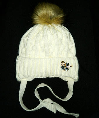 Детская зимняя шапка на завязках 52-56р