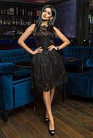 Выходное вечернее платье с гепюром и пышной юбкой в расцветках S M L