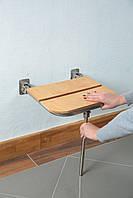 Откидной стул для душа с деревянной сидушкой для людей с ограниченными возможностями Ø19, размер 42*40*41см