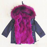 Детская куртка-парка с цветным натуральным мехом (фиолетовый)