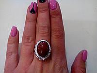 Кольцо с камнем сердолик в серебре.