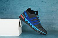 Подростковые зимние кроссовки Adidas Черный\Голобуй 10546
