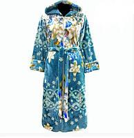 Женский зимний махровый халат на поясе теплый домашний велсофт мягкий махровый Украина