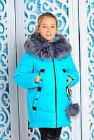 """Зимняя куртка """" Матильда """" в красивом бирюзовом цвете"""