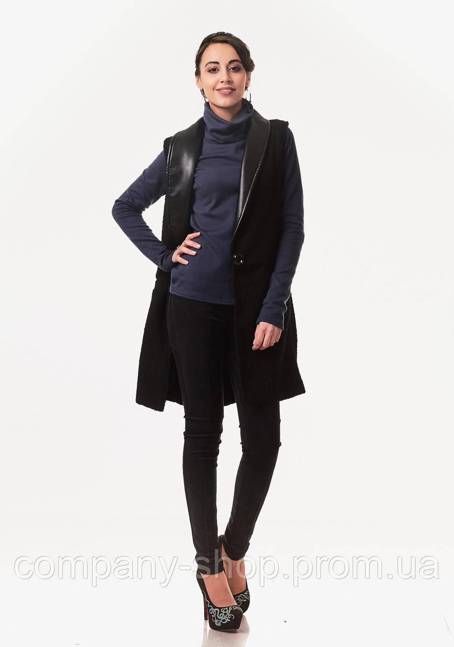 Женский кашемировый жилет с кожаными лацканами. Модель Ж002_черный букле.