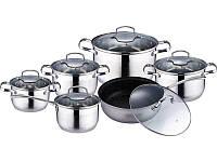 Набор индукционной посуды 12 пр. (кастрюли 2.1л, 2.9л, 4л, 6.5л; ковш 2.5л; сковорода 24см) Kamille 4007 SMR