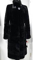 Шуба из овчины-мутон стойка с норкой цвет-чёрный длина 110см 44р-46р
