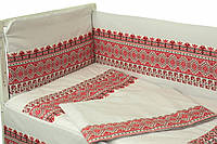 Защитное ограждение для детской кроватки Руно Орнамент красный