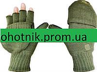 Вязаные, двойные перчатки-откидная варежка. Цвет Олива.