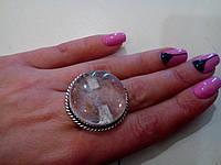 Кольцо круглое с кварцем волосатик кольцо с камнем рутиловый кварц-волосатик в серебре 19 размер Индия, фото 1