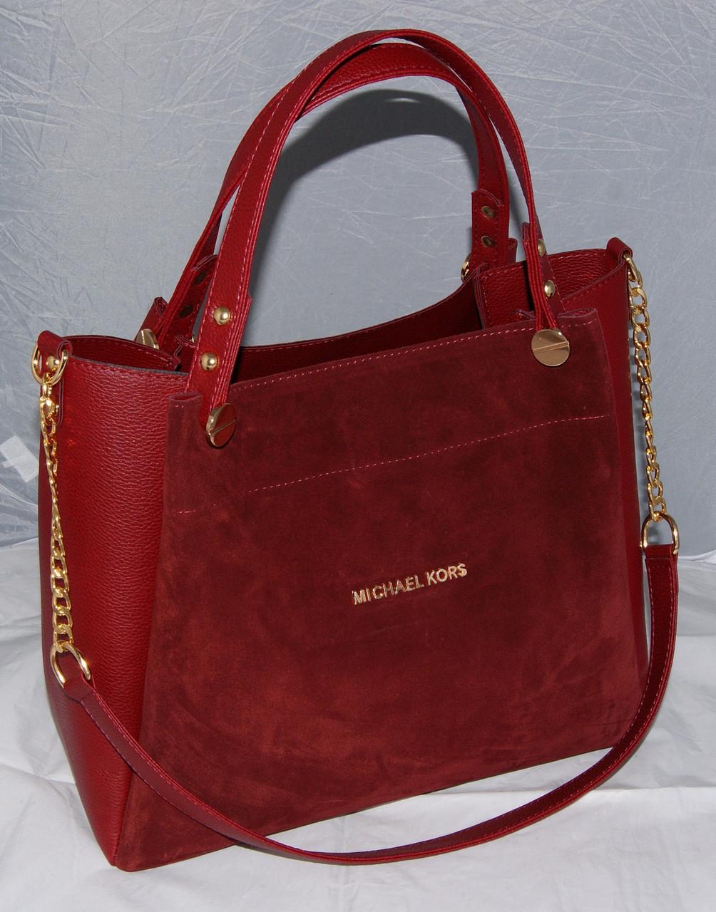 c8ae9220a96f Женская замшевая сумка Michael Kors, цвет марсала Майкл Корс MK ...