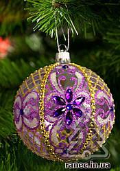 Стеклянный шар на елку Цветок прозрачный