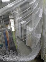 Тюль вышивка на микросетке Ламбада белая