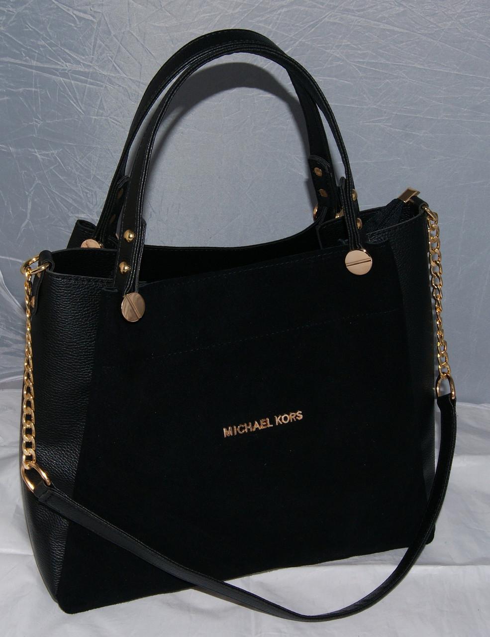 fa8ed092e5d4 Женская замшевая сумка Michael Kors, цвет черный Майкл Корс MK ...
