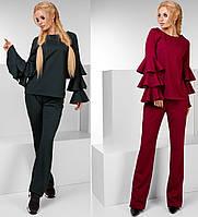 Женский нарядный костюм брюки и кофта воланы